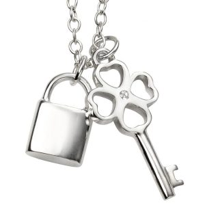beginnings sterling silver padlock and key necklace