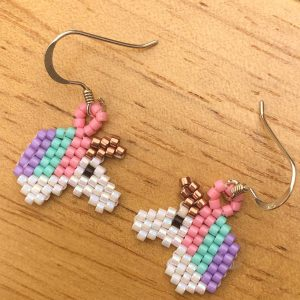 sterling silver miyuki delica beaded unicorn earrings