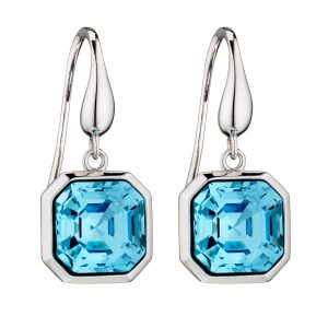 elements silver Swarovski aquamarine crystal imperial cut drop earrings