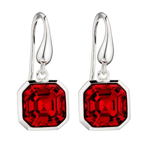 elements silver Swarovski red crystal imperial cut drop earrings