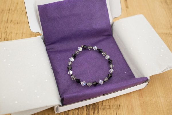 black and grey shades swarovski crystal bracelet packaging