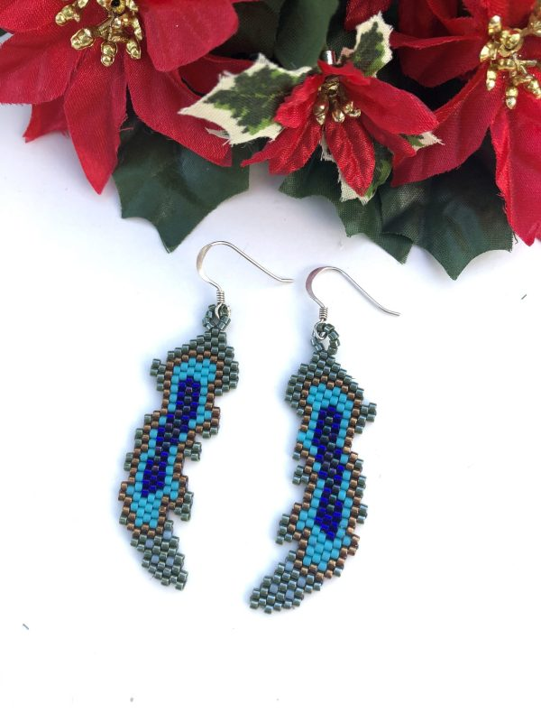 Miyuki Delica beaded peacock feather sterling silver earrings