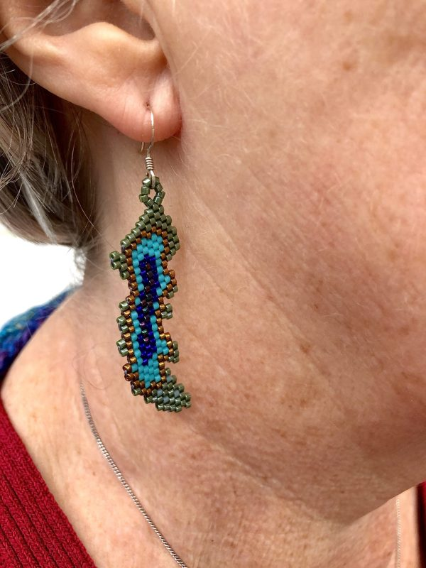 miyuki beaded peacock feather earrings