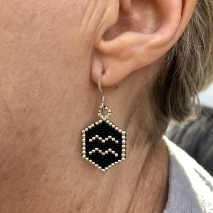 aquarius black and silver miyuki delica beaded earrings