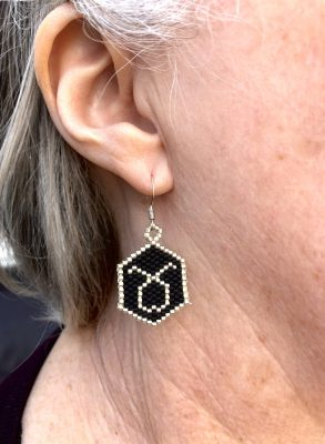 miyuki beaded taurus earrings