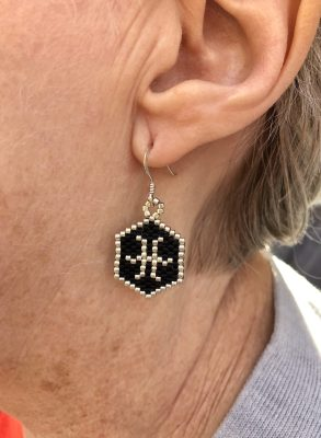pisces black and silver miyuki delica beaded earrings