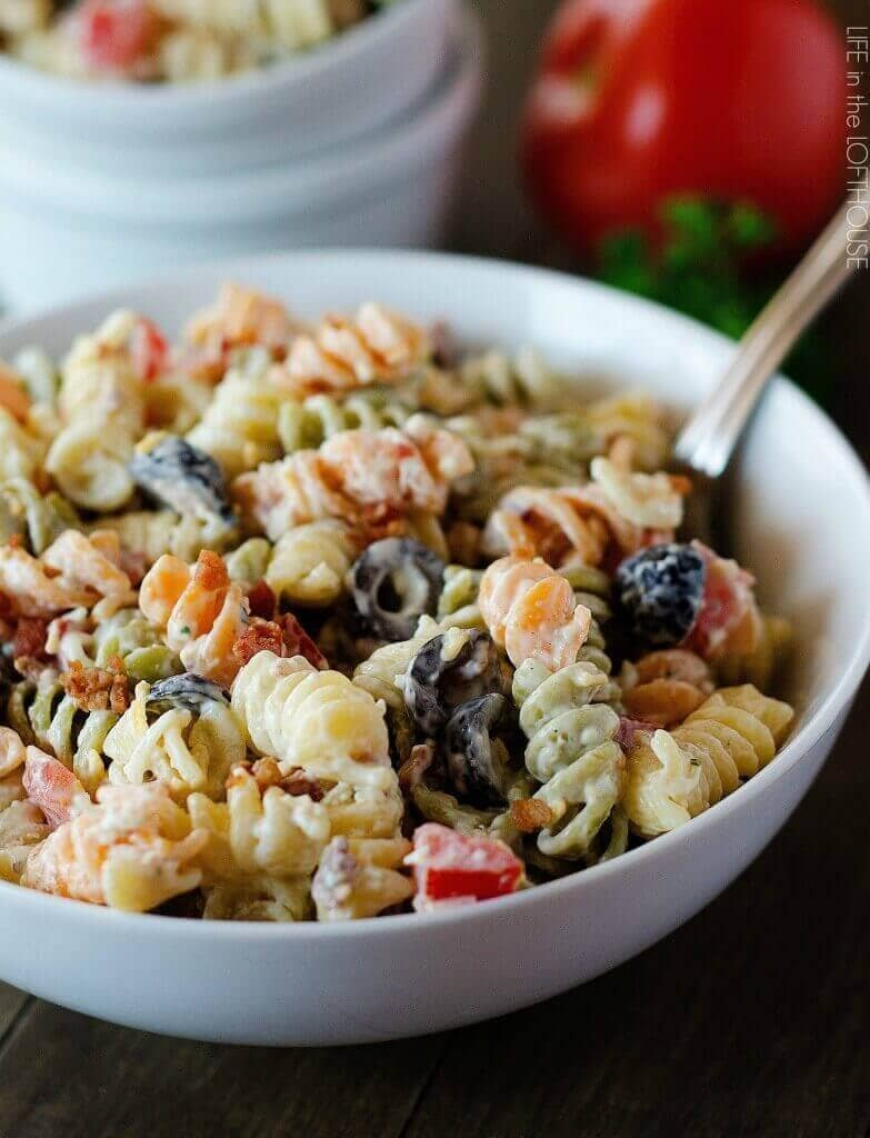 Bacon Ranch Pasta Salad-easter side dishes recipes-easter side dishes vegetables-easter side dishes make ahead-easter side dishes recipes veggies-easter side dishes recipes simple