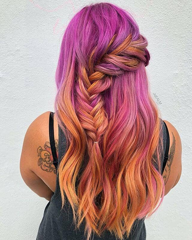 Hot Magenta and Coral Pink Hair Color