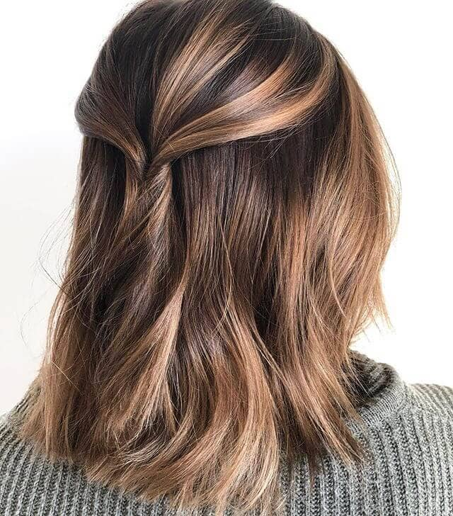 Medium Length Hair Pulled Back with Layered Highlights