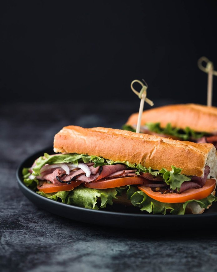 sandwiches in a hotel room