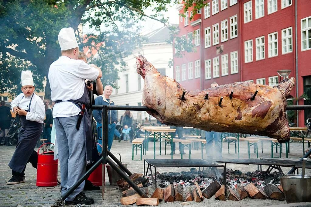 Meat on spit during Copenhagen Cooking Food Festival