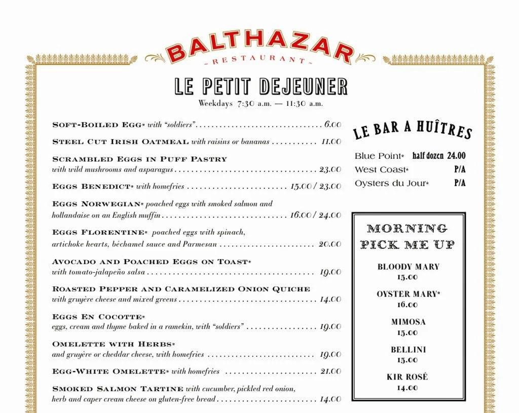 Menu at Balthazar, NYC