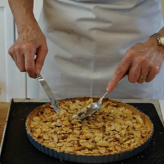 preparing almond crust for pie