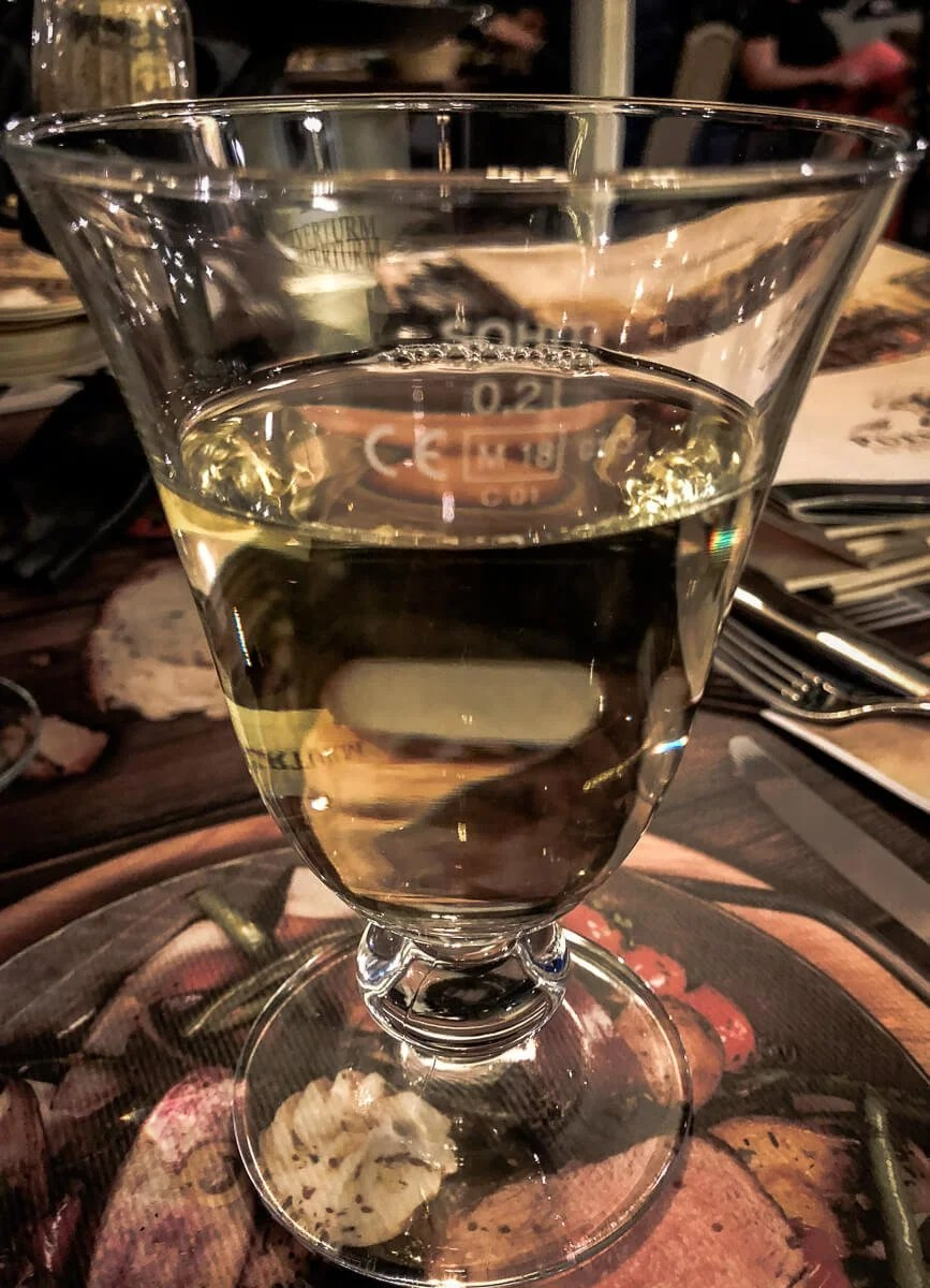 A glass of Muller-Thurgau wine