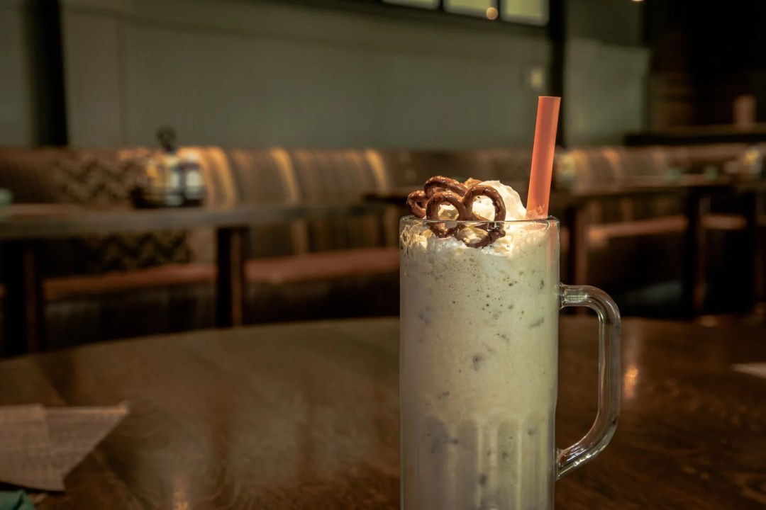 Caramel Brown Buttler Pretzel Milkshake at Woody's, Omni Homestead Hotel