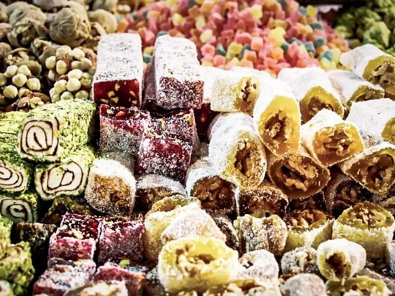 large display of various Azerbaijan sweets