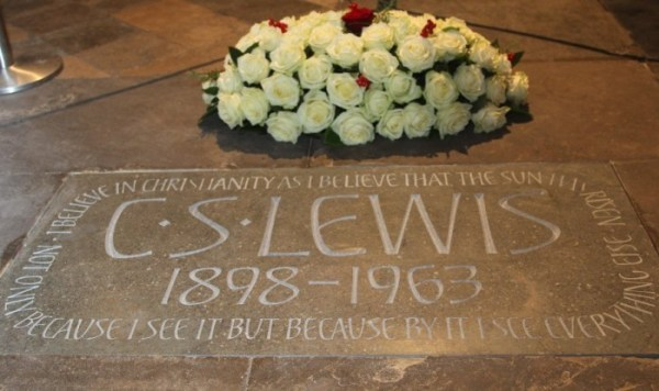The memorial stone for C.S. Lewis, Writer, Scholar, Apologist - in Poets's Corner at Westminster Abbey, London. Image courtesy Andrew Dunsmore/Westminster Abbey.
