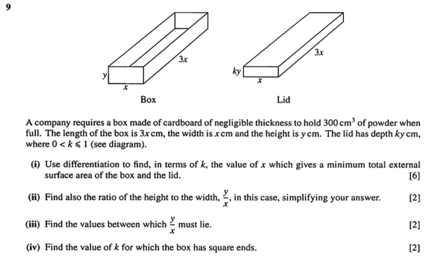 Credits: A-level H2 Mathematics (9740) Paper 1 2010 Question 9