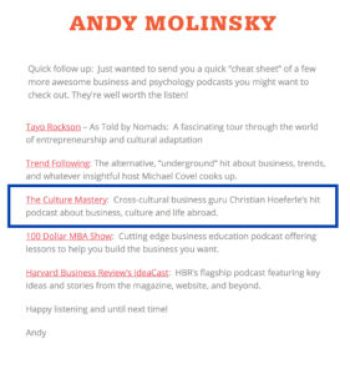 Molinsky Top podcasts
