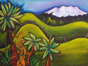 Mt. Ruapehu Over The Farm, by Tina Drayton