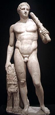 Marble statue of Hercules. Roman copy of Greek original.