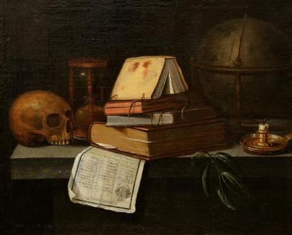 A Vanitas Still Life by Edwaert Collier, probably mid-late 1600s.