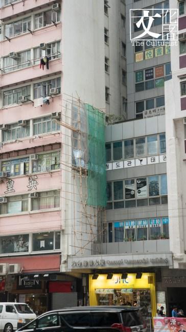 大廈外牆作品早前創作時照片