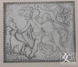狗狗也啟發了不少西方藝術品,包括這個清朝的刻希臘神話故事圖螺鈿盒。