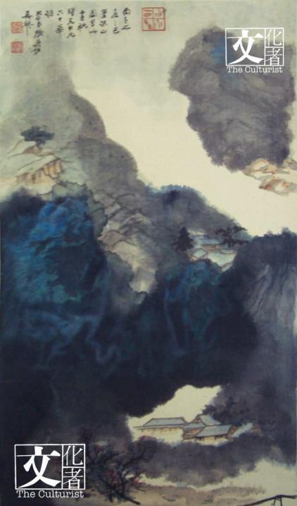 張大千(1899 – 1983) 賀壽山水 1966年作 水墨設色紙本立軸 86.4 x 50.2 厘米 (香港藝術館提供)