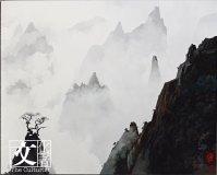 他著名的作品如 《雲深不知處》,有油畫的凝重,又有中國畫的靈動,令人找到留白的想像空間。