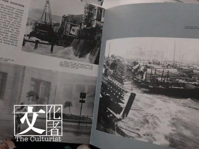 書中有大量香港颱風珍貴照片,右圖為1964年颱風黛蒂來襲下的銅鑼灣避風塘。