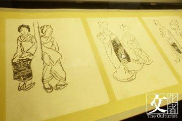 展覽呈現了竹久夢二許多雜誌的設計畫和草稿。