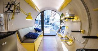 在100平方呎範圍內安置一至二人居住,配備煮食設施和浴室的公寓。每個O-Pod都配備了智能手機鎖,及節省空間的微型家具。(圖片由James Law Cybertecture提供)
