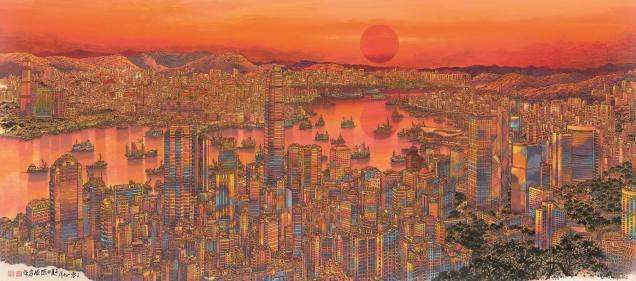 陳球安作品《紅日光輝耀香江》