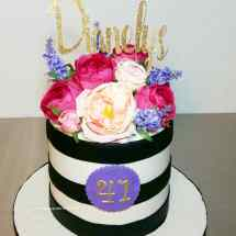 birthday cake, kate spade, fresh flowers