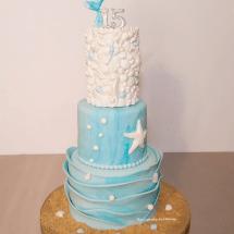 Mermaid cake, under the sea cake, quinceanera cake