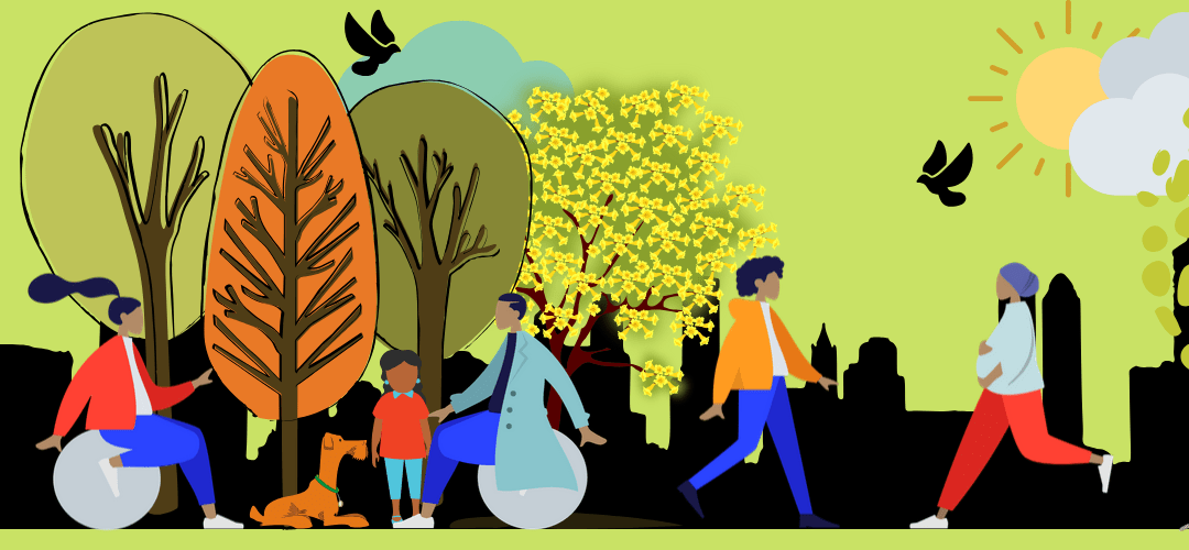 A city image of people walking, sitting and enjoying trees, sunlight and birds. Some dogs and cats are also there.