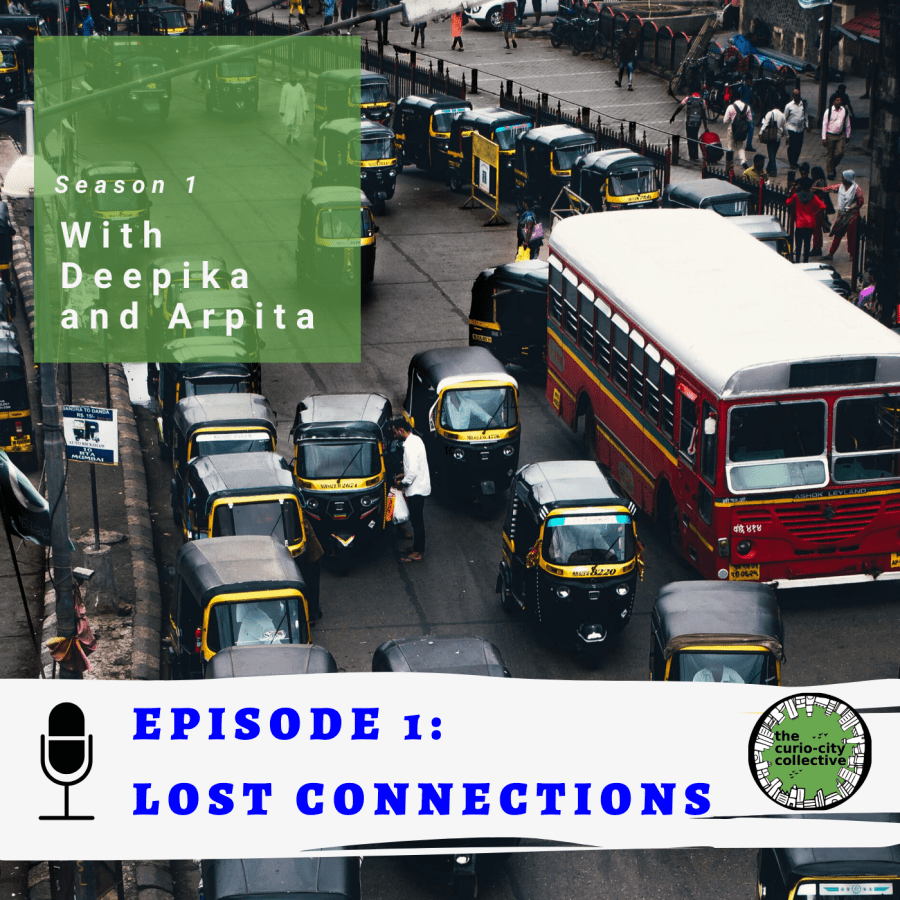 The cover image of episode one with many autos and a buses on the road. It says episode 1: lost connections and TCC logo on a white band.