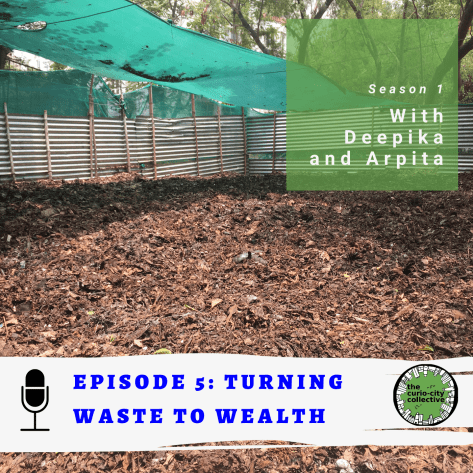 Cover image of episode 5 with compost on the ground with the words: turning waste to wealth.