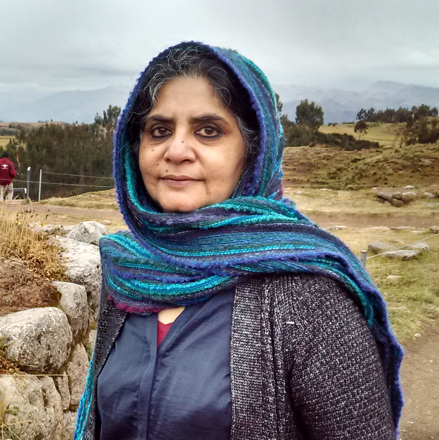 A photo of Radhika Alkazi in a landscape.