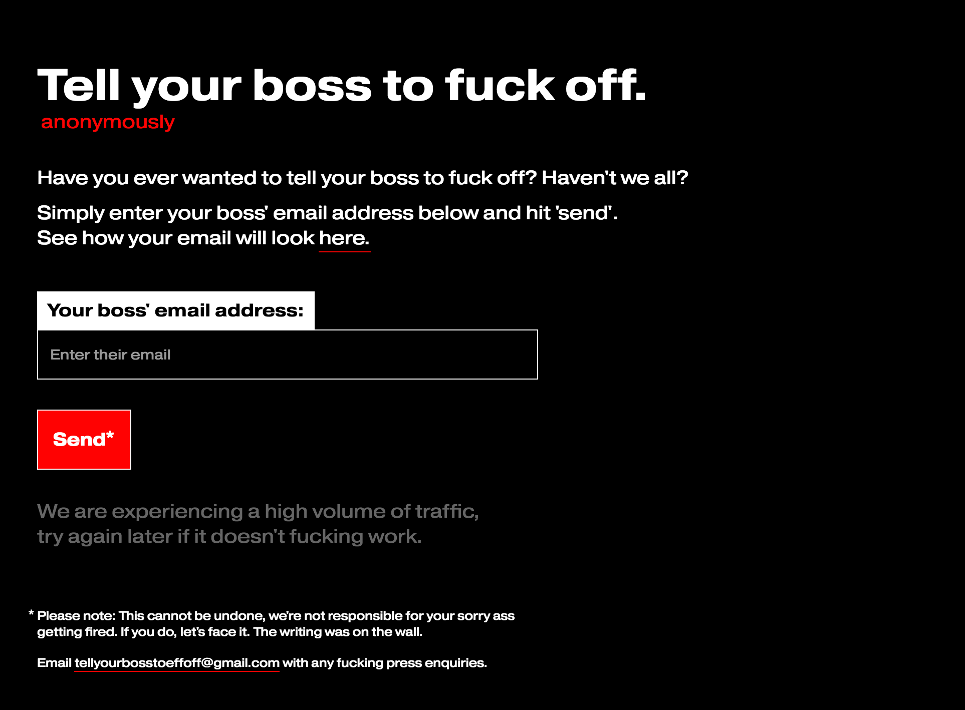 Tell your boss to fuck off