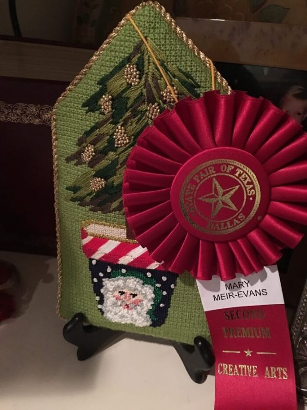 Needlepoint Red Ribbon
