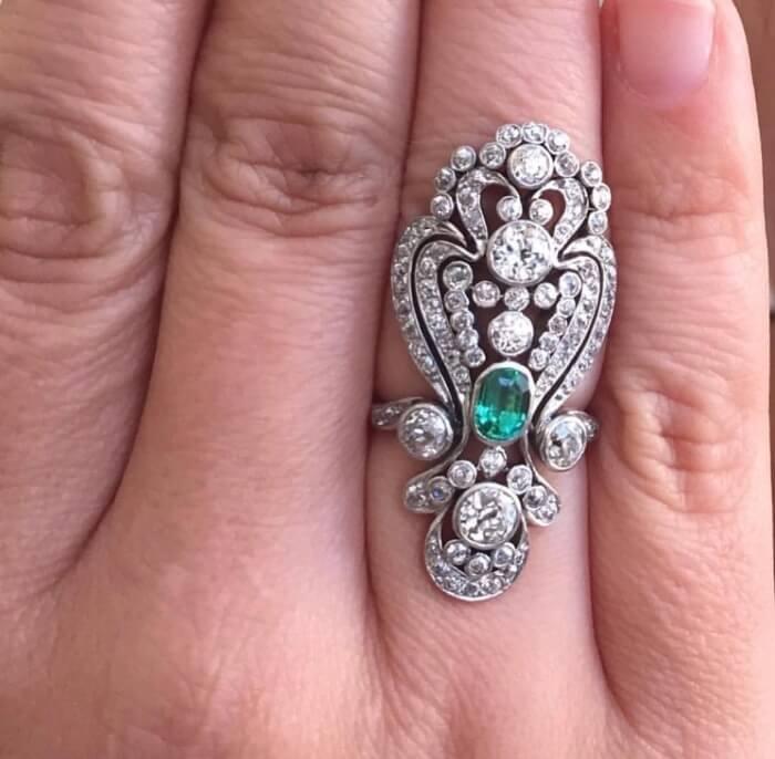 A Rare Elements diamond and emerald Estate Ring