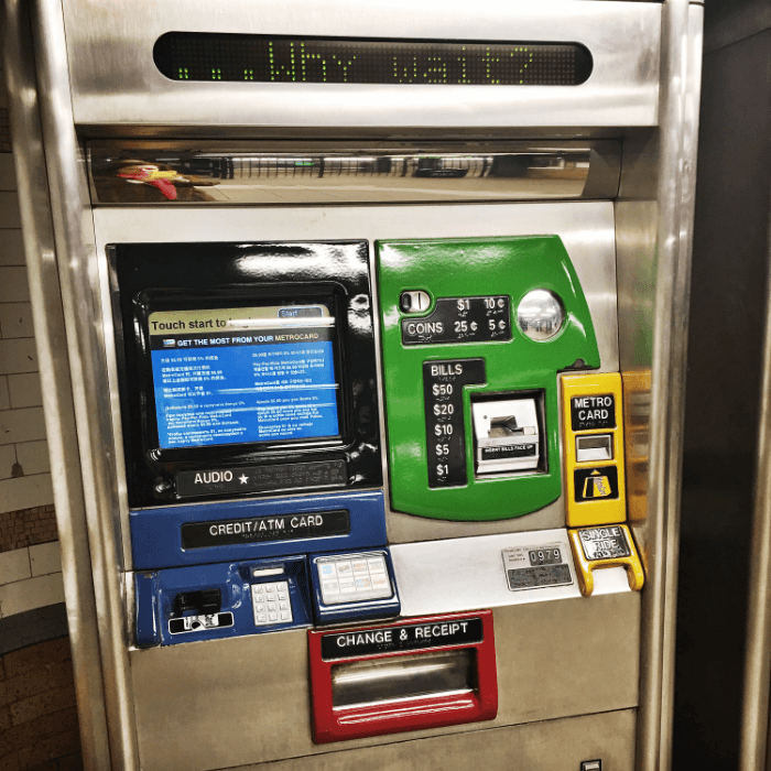 a NYC Metrocard Vending Machine