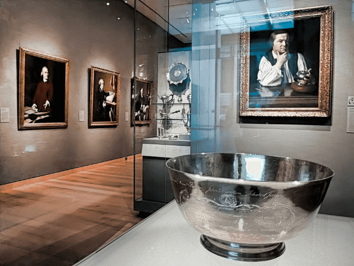 A Paul Revere Silver Bowl on display in a museum