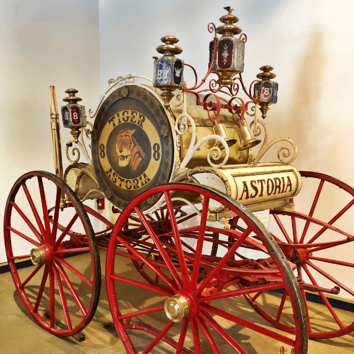 Antique Fire Wagon on display