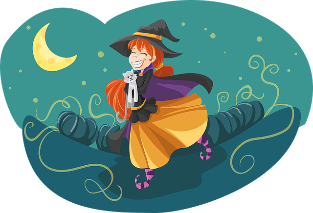 Red-Headed Cartoon Witch with a broom