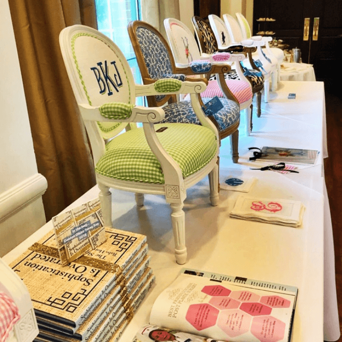 Row of Monogrammed Chairs