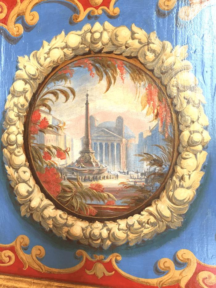 The Pantheon facade painted onto a cabinet door