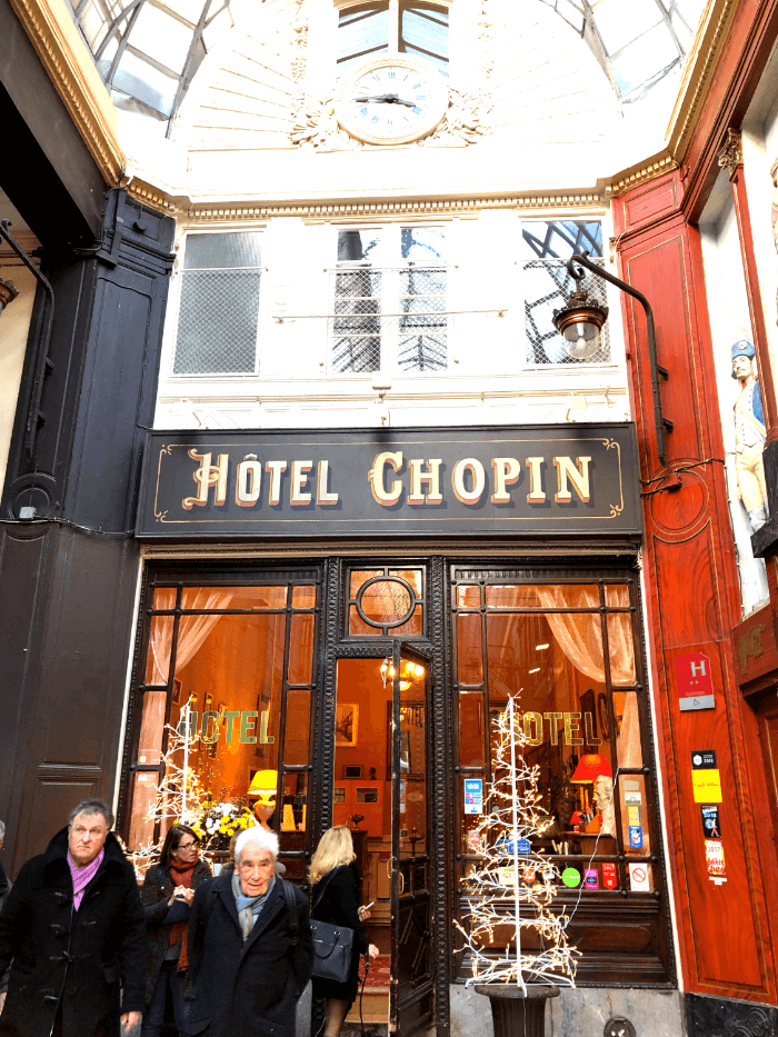 Paris Passage entrance to the Hotel Chopin